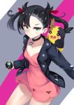 1girl :d asymmetrical_bangs bangs black_choker black_hair black_jacket black_nails blush breasts choker closed_mouth collarbone commentary_request dress dusk_ball earrings eyebrows_behind_hair gen_8_pokemon green_eyes hair_ribbon highres holding holding_poke_ball irohasu jacket jewelry looking_at_viewer mary_(pokemon) morpeko nail_polish open_clothes open_jacket open_mouth pink_dress poke_ball pokemon pokemon_(creature) pokemon_(game) pokemon_swsh red_ribbon ribbon sidelocks small_breasts smile twintails v-shaped_eyebrows