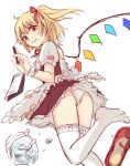 1girl alternate_costume apron ass bangs blonde_hair commentary_request dress enmaided eyebrows_visible_through_hair feet_out_of_frame flandre_scarlet frilled_apron frills hair_ribbon hand_up holding holding_pen looking_at_viewer maid maid_apron miyo_(ranthath) no_hat no_headwear one_side_up panties pantyshot pen petticoat puffy_short_sleeves puffy_sleeves red_dress red_eyes red_footwear red_ribbon ribbon shirt shoes shoes_removed short_dress short_hair short_sleeves simple_background solo thigh-highs thighs touhou underwear waist_apron white_apron white_background white_legwear white_panties white_shirt wings wrist_cuffs