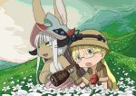 :o animal_ears bad_id bad_twitter_id blonde_hair flower furry glasses green_eyes hat headgear highres hill kawasemi27 made_in_abyss nanachi_(made_in_abyss) rabbit_ears riko_(made_in_abyss) twintails white_flower white_hair