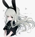 1girl 2019 animal_ears bangs black_hairband black_shirt bow captain_yue closed_mouth collared_shirt cropped_torso eyebrows_visible_through_hair fake_animal_ears green_bow grey_background grey_eyes grey_hair hairband long_hair looking_at_viewer original rabbit_ears shirt short_sleeves solo twitter_username upper_body wide_sleeves