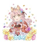 1girl :d ahoge animal animal_ear_fluff animal_ears bangs bird blue_flower bluebird blush brown_eyes brown_flower capelet commentary_request eyebrows_visible_through_hair fang flower hair_between_eyes hair_flower hair_ornament hair_ribbon hood hood_down hooded_capelet long_hair long_sleeves open_mouth original petals pink_flower pink_hair pink_rose red_capelet red_ribbon ribbon rose shirt simple_background sleeves_past_wrists smile solo wataame27 white_background white_shirt wolf-chan_(wataame27) wolf_ears yellow_flower