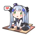 1girl :o animal apron assault_rifle bangs black_apron black_bow black_cat black_footwear black_hairband blue_hair blush bow cat chibi commentary_request dress eyebrows_visible_through_hair facial_mark frilled_apron frills girls_frontline green_eyes grey_legwear gun h&k_hk416 hair_bow hair_ornament hairband hat heart hk416_(girls_frontline) long_hair mini_hat object_namesake open_mouth purple_headwear ribbed_legwear rifle shoe_soles shoes sidelocks simple_background sitting socks solo spoken_heart tilted_headwear two_side_up very_long_hair weapon white_background white_dress yaosera