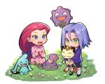 apple_brk blue_eyes blue_hair brook ekans green_eyes kojirou_(pokemon) meowth musashi_(pokemon) pokemon pokemon_(anime) pokemon_(creature) team_rocket weezing
