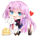 1girl :d bangs black_hoodie black_legwear blue_eyes blush brown_footwear bubble_tea butter chibi commentary_request cup disposable_cup drinking_straw eyebrows_visible_through_hair food full_body hair_between_eyes hair_ornament hairclip heart heart_hair_ornament highres holding holding_stuffed_animal hood hood_down hoodie kneehighs kouda_suzu long_hair long_sleeves looking_at_viewer necktie one_side_up open_mouth original pancake pink_hair plate pleated_skirt red_neckwear shoe_soles shoes simple_background skirt smile solo stack_of_pancakes stuffed_animal stuffed_bunny stuffed_toy very_long_hair white_background white_skirt