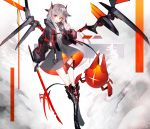 1girl animal_ears bangs black_footwear black_jacket blush boots commentary_request crossed_legs dress eyebrows_visible_through_hair fang grey_dress grey_hair hair_between_eyes hand_up highres holding holding_sword holding_weapon horns jacket katana knee_boots long_hair long_sleeves looking_at_viewer moemoe3345 multicolored_hair open_clothes open_jacket open_mouth original pointy_ears puffy_long_sleeves puffy_sleeves red_eyes redhead robot sleeves_past_wrists solo streaked_hair sword weapon