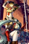 2girls aegis_(persona) android aqua_hair axe blonde_hair blue_eyes blue_hair character_name hat headphones jacky_lau labrys long_hair multiple_girls necktie persona persona_3 persona_4 persona_4:_the_ultimate_in_mayonaka_arena pleated_skirt ponytail red_eyes ribbon robot_ears robot_joints school_uniform serafuku short_hair skirt smile very_long_hair weapon