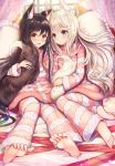 2girls animal_ear_fluff animal_ears barefoot bed black_hair blue_eyes blush brown_eyes canopy_bed commentary_request curtains day feet fox_ears fox_girl fox_tail highres holding_tail indoors long_hair long_sleeves looking_at_another looking_at_viewer multiple_girls nose_blush on_bed open_mouth original pajamas pillow sakura_ani silver_hair sitting striped striped_sweater sweater tail window