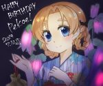 1girl artist_name bag bangs black_bow blue_eyes blue_kimono bow braid character_name closed_mouth commentary dated english_text eyebrows_visible_through_hair floral_print flower flower_request girls_und_panzer hair_bow handbag happy_birthday highres holding japanese_clothes kimono light_blush looking_at_viewer orange_hair orange_pekoe parted_bangs pink_flower print_kimono short_hair signature smile solo tied_hair toon_(noin) twin_braids