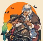 1boy 1girl adjusting_hair alternate_costume ana_(overwatch) beard bird bird_on_hand braid brown_hair canteen cigar cloak closed_eyes coat corsair_ana dark_skin eye_of_horus eyeshadow facial_hair hage2013 hair_over_shoulder halloween halloween_costume headband lips makeup mccree_(overwatch) nose overcoat overwatch parrot silver_hair single_braid smile van_helsing_mccree