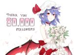 1girl alternate_costume asutora bangs bare_arms bare_shoulders bat_wings blue_hair blush bouquet choker collarbone commentary_request dress eyebrows_visible_through_hair flower followers hair_between_eyes hat hat_ribbon holding holding_flower looking_at_viewer low_wings mob_cap petals pointy_ears red_choker red_eyes red_ribbon red_sash remilia_scarlet ribbon rose sash short_hair sidelocks simple_background smile solo strapless strapless_dress thank_you touhou white_background white_dress white_flower white_headwear white_rose wings