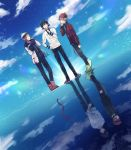3boys black_hair black_pants blue_neckwear blue_sky boots brown_footwear clouds day different_reflection formal hand_on_hip highres ida_rintarou long_sleeves male_focus multicolored_hair multiple_boys necktie niimura_kou oga_sleep okami_game_(werewolf) outdoors pants plaid_jacket rainbow_hair red_headwear reflection shimatsuki_yuminari sky standing suit white_hair white_suit