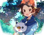 >_o 1boy akemaru baseball_cap blush brown_eyes brown_hair fang gen_5_pokemon hat jacket looking_at_viewer one_eye_closed open_mouth oshawott outdoors pokemon pokemon_(game) pokemon_bw shade smile touya_(pokemon) tree waving