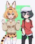 2girls animal_ears backpack bag black_eyes black_hair black_legwear blonde_hair copyright_name fang gloves hat hood hoodie kaban_(kemono_friends) kemono_friends miniskirt multiple_girls nekonyan_(inaba31415) pantyhose serval_(kemono_friends) short_hair simple_background skirt tail thigh-highs white_legwear yellow_eyes