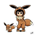 1girl :3 artist_name black_eyes black_hair blush_stickers child clenched_hand commentary_request cosplay eevee eevee_(cosplay) eevee_ears eevee_tail gen_1_pokemon lee_(colt) looking_at_viewer poke_kid_(pokemon) pokemon pokemon_(creature) simple_background smile white_background