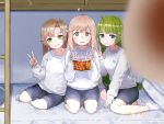 3girls ahoge akigumo_(kantai_collection) ankle_socks armband bangs bed blue_eyes blurry blurry_foreground blush brown_hair bunk_bed commentary_request depth_of_field eyebrows_visible_through_hair glasses green_eyes green_hair grin hair_down indoors kantai_collection long_hair long_sleeves makigumo_(kantai_collection) mole mole_under_mouth multiple_girls pillow pink_hair shirt shorts sitting smile socks someno_haru sweat v white_legwear white_shirt yellow_eyes yuugumo_(kantai_collection)