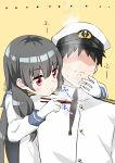 1boy 1girl absurdres admiral_(kantai_collection) arm_around_neck bangs black_hair blowing blush burnt_hair closed_mouth commentary_request disgust eyebrows_visible_through_hair faceless faceless_male frown gloves highres isokaze_(kantai_collection) kantai_collection long_hair long_sleeves military military_uniform naval_uniform red_eyes ryuki_(ryukisukune) signature simple_background steam uniform upper_body white_gloves white_headwear yellow_background
