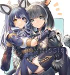 2girls akizone animal_ears bangs black_eyes black_gloves black_legwear blue_eyes brown_hairband check_copyright commentary commission eyebrows_visible_through_hair fake_animal_ears final_fantasy final_fantasy_xiv frown fur_trim gloves hairband heterochromia holding_another long_hair looking_at_viewer mask medium_hair miqo'te multiple_girls puffy_sleeves short_sleeves smile thigh-highs wolf-ears yellow_eyes