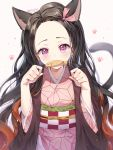 1girl absurdres animal_ears black_hair brown_hair cat_ears cat_girl cat_tail checkered chyoling commentary food food_in_mouth forehead gradient_hair hair_ribbon hands_up has_bad_revision has_downscaled_revision highres japanese_clothes kamado_nezuko kemonomimi_mode kimetsu_no_yaiba kimono long_hair looking_at_viewer mouth_hold multicolored_hair obi open_clothes paw_pose pink_eyes pink_kimono pink_ribbon ribbon sash solo symbol_commentary tail tail_raised taiyaki upper_body very_long_hair wagashi