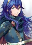 1girl ameno_(a_meno0) black_sweater blue_cape blue_eyes blue_hair breastplate cape closed_mouth commentary_request eyebrows_visible_through_hair falchion_(fire_emblem) fire_emblem fire_emblem_awakening floating_hair hair_between_eyes hair_ornament holding holding_sword holding_weapon lips long_hair looking_at_viewer lucina lucina_(fire_emblem) multicolored multicolored_cape multicolored_clothes red_cape ribbed_sweater shoulder_armor simple_background smile solo sweater sword tiara turtleneck turtleneck_sweater weapon