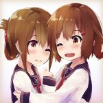 2girls anchor anchor_symbol bangs blush brown_eyes brown_hair closed_mouth eyebrows_visible_through_hair folded_ponytail hair_ornament hairclip highres hug ikazuchi_(kantai_collection) inazuma_(kantai_collection) kantai_collection long_sleeves multiple_girls neckerchief one_eye_closed open_mouth ponytail red_neckwear sailor_collar school_uniform serafuku sidelocks simple_background smile taisho_(gumiyuki) wavy_mouth