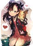 1girl absurdres asymmetrical_bangs asymmetrical_hair backpack bag bangs black_hair black_jacket blue_eyes blush choker dress gen_8_pokemon hair_ribbon heart highres jacket kaamin_(mariarose753) long_hair long_sleeves mary_(pokemon) morpeko pink_dress pokemon pokemon_(creature) pokemon_(game) pokemon_swsh ribbon sitting smile speech_bubble spoken_heart twintails undercut