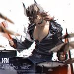 1boy abs animal_ears arknights armband artist_name belt black_gloves black_jacket black_pants brown_hair closed_eyes copyright_name cow_ears cymbals dated drum drum_set drumming drumsticks ear_piercing facing_viewer fingerless_gloves gloves hair_between_eyes han-0v0 horns instrument jacket leather leather_jacket long_sleeves male_focus matterhorn_(arknights) motion_blur pants piercing simple_background solo white_background
