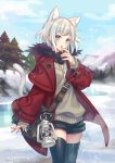 1girl :o animal_ear_fluff animal_ears bag belt_buckle black_legwear black_shorts blue_eyes buckle cat_ears clouds coat commentary_request extra_ears eyebrows_visible_through_hair finger_to_mouth forest frozen_lake highres jacket lantern mountainous_horizon nature original outdoors pine_tree red_jacket short_hair short_shorts shorts shoulder_bag sky snow snowing sweater thigh-highs tree whistle whistle_around_neck white_hair winter winter_clothes winter_coat zoff_(daria)