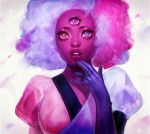 1girl :o afro breasts cotton_candy dress eyelashes garnet_(steven_universe) lips looking_at_viewer multicolored multicolored_clothes multicolored_dress multicolored_eyes multicolored_hair pink_skin plump simple_background solo sparkle sparkling_eyes steven_universe surprised touching viorie