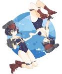2girls air_bubble animal bangs bare_arms bare_shoulders black_hair blue_swimsuit blush boots breasts brown_footwear bubble closed_mouth enu_(roco_roco44) eyebrows_visible_through_hair fish framed_breasts grey_headwear hair_between_eyes holding_hands i-13_(kantai_collection) i-14_(kantai_collection) kantai_collection multiple_girls open_mouth rudder_footwear sailor_collar shirt sleeveless sleeveless_shirt small_breasts smile swimsuit toeless_boots upside-down white_sailor_collar white_shirt yellow_eyes