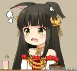 1girl animal_ear_fluff animal_ears azur_lane bangs bare_shoulders black_hair blush collarbone commentary_request cup detached_sleeves dress eyebrows_visible_through_hair fox_ears hair_ornament long_hair miicha nagato_(azur_lane) open_mouth pleated_dress red_dress solo steam strapless strapless_dress tears twitter_username upper_body wavy_mouth white_sleeves yellow_eyes yunomi