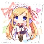 1girl :o bangs black_footwear blonde_hair blue_eyes blush brown_legwear chibi commentary eyebrows_visible_through_hair frilled_hairband frills full_body hair_ribbon hairband heart long_hair long_sleeves looking_at_viewer low_twintails lump_of_sugar nursery_rhyme parted_lips pleated_skirt purple_ribbon purple_skirt red_hairband red_ribbon red_sailor_collar ribbon ryuuka_sane sailor_collar school_uniform serafuku shirt skirt solo swept_bangs thigh-highs tita_flawless_brandt twintails twitter_username very_long_hair white_shirt