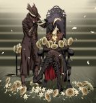 1boy 1girl arizuka_(catacombe) black_gloves blonde_hair bloodborne blue_eyes blush boots chair closed_eyes coat crossed_legs eyelashes flower gloves hat highres hunter_(bloodborne) jewelry lady_maria_of_the_astral_clocktower long_hair mask overcoat petals sunflower sweatdrop the_old_hunters vambraces vest white_hair wreath