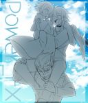 3boys ahoge bangs big_al blue_sky blush capelet carrying closed_eyes clouds cloudy_sky collar day facial_scar facing_another jacket looking_down male_focus mizuhoshi_taichi monochrome multiple_boys oliver_(vocaloid) open_mouth princess_carry scar short_hair sitting_on_shoulder sky smile standing vocaloid yohioloid