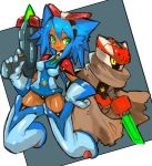 1girl :d bangs blue_hair boots breasts cape cloak commentary_request dakusuta dark_skin elbow_gloves energy_gun facial_mark full_body gloves green_eyes hair_between_eyes hand_on_hip highres holding holding_weapon medium_breasts medium_hair open_mouth original ray_gun robot simple_background smile spiky_hair thigh-highs thigh_boots weapon