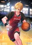 1boy :o basketball basketball_uniform blonde_hair copyright_name dribbling indoors interitio male_focus official_art red_shorts short_sleeves shorts sid_story sportswear twitter_username wristband