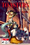 2girls absurdres aegis_(persona) android aqua_hair axe blonde_hair blue_eyes blue_hair character_name english_text hat headphones highres jacky_lau labrys long_hair multiple_girls necktie persona persona_3 persona_4 persona_4:_the_ultimate_in_mayonaka_arena pleated_skirt ponytail red_eyes ribbon robot_joints school_uniform serafuku short_hair skirt smile very_long_hair weapon