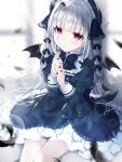 1girl bangs black_bow black_dress black_feathers black_headwear black_ribbon black_wings blunt_bangs blurry blurry_background blush bonnet bow brooch closed_mouth commentary demon_wings depth_of_field doll_joints dress english_commentary eyebrows_visible_through_hair feathers glint gothic_lolita hair_ribbon hands_up jewelry juliet_sleeves lolita_fashion long_hair long_sleeves looking_at_viewer original puffy_sleeves ribbon silver_hair solo twitter_username umino_(umino00) very_long_hair violet_eyes wings