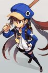 1girl backpack bag bangs baseball_bat blue_headwear blue_legwear blue_sailor_collar blue_skirt brown_eyes brown_footwear brown_hair crossed_bandaids disgaea hankuri hat holding_baseball_bat jacket kazamatsuri_fuuka loafers long_hair makai_senki_disgaea_4 neckerchief pleated_skirt sailor_collar shoes skirt solo thigh-highs twintails two-tone_jacket very_long_hair yellow_neckwear