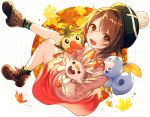 1girl :d autumn_leaves blush brown_eyes brown_hair full_body grookey hat kh_(kh_1128) looking_at_viewer open_mouth pokemon pokemon_(game) pokemon_swsh scorbunny short_hair smile sobble solo yuuri_(pokemon)