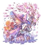 1girl blue_neckwear blush bouquet cherry_blossoms closed_eyes daisy fish floral_print flower frills hat hat_ribbon holding holding_bouquet komeiji_koishi medium_hair neckerchief open_mouth petals puddle ribbon rose sailor_collar sekisei_(superego51) shirt skirt sleeves_past_wrists smile third_eye touhou tree tulip upper_body water white_background