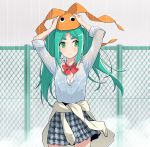 1girl blush bow bra breasts clothes_around_waist googly_eyes green_eyes green_hair hands_up highres long_hair looking_at_viewer medium_breasts monogatari_(series) ononoki_yotsugi open_clothes open_mouth open_shirt rain shirt skirt sweater_around_waist twintails underwear wet wet_clothes wet_shirt wind yamanami_kousuke