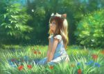 1girl animal_ears between_legs blue_eyes brown_hair bush butterfly_on_head cat_ears cat_girl commentary_request day dress from_side full_body grass hand_between_legs long_hair looking_up on_grass original outdoors parted_lips short_sleeves sitting solo wasabi60 white_dress