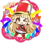 >_o 1girl arms_up bang_dream! birthday blonde_hair blush_stickers boots breasts chibi commentary_request confetti english_text epaulettes eyebrows_visible_through_hair hasewox hat long_hair marching_band medium_breasts michelle_(bang_dream!) multicolored multicolored_background multicolored_clothes one_eye_closed open_mouth shako_cap standing standing_on_one_leg tagme thigh-highs thigh_boots tsurumaki_kokoro yellow_eyes zettai_ryouiki