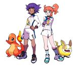 1boy 1girl bright_pupils charmander closed_mouth dande_(pokemon) dark_skin dark_skinned_male full_body gen_1_pokemon gen_8_pokemon gloves gym_challenge_uniform hand_on_hip highres looking_at_another looking_at_viewer orange_hair pokemon pokemon_(creature) pokemon_(game) pokemon_swsh purple_hair shoes short_ponytail simple_background single_glove sneakers socks sonia_(pokemon) spiky_hair tofu_(tttto_f) white_background yamper yellow_eyes younger