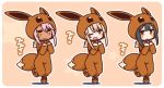 3girls :d beige_background black_hair blush brown_eyes brown_footwear chibi chloe_von_einzbern closed_mouth commentary_request cosplay dark_skin eevee eevee_(cosplay) eevee_costume eevee_ears eevee_tail fang fate/kaleid_liner_prisma_illya fate_(series) gen_1_pokemon hair_ornament hairclip hands_up illyasviel_von_einzbern light_brown_hair long_sleeves miyu_edelfelt multiple_girls open_mouth pink_hair pokemon pokemon_ears shoes sleeves_past_wrists smile standing standing_on_one_leg star tail translation_request yoru_nai
