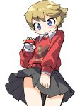 1boy blush brown_hair crossdressing fun_bo highres holding holding_poke_ball male_focus npc_trainer otoko_no_ko poke_ball poke_ball_(generic) pokemon pokemon_(game) pokemon_swsh print_sweater short_hair shorts skirt smile solo suspender_shorts suspenders sweater youngster_(pokemon)