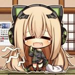 1girl 7:08 blonde_hair calendar_(object) chibi closed_eyes fang girls_frontline hair_ornament headphones highres long_hair open_mouth pillow ribbon tail tail_ribbon tmp_(girls_frontline) tooth yawning