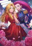 apple_brk blue_eyes crossdressing dress flower green_eyes jewelry kojirou_(pokemon) musashi_(pokemon) petals pokemon pokemon_(anime) rose rose_petals team_rocket