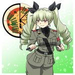 anchovy anzio_(emblem) anzio_military_uniform bangs belt beni_(bluebluesky) black_belt black_neckwear black_ribbon black_shirt commentary cowboy_shot dress_shirt drill_hair emblem eyebrows_visible_through_hair girls_und_panzer gradient gradient_background green_background green_hair grey_jacket grey_pants hair_ribbon highres holding jacket long_hair long_sleeves looking_at_viewer military military_uniform necktie outside_border pants red_eyes ribbon riding_crop sam_browne_belt shirt smirk standing twin_drills twintails uniform v-shaped_eyebrows wing_collar