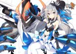 1girl bare_shoulders breasts bronya_zaychik bronya_zaychik_(herrscher_of_reason) cannon center_opening closed_mouth copyright_name dress elbow_gloves gloves grey_eyes honkai_(series) honkai_impact_3rd layered_dress long_hair looking_at_viewer mecha outstretched_arm pantyhose project_bunny silver_hair sitting small_breasts solo stomach v-shaped_eyebrows very_long_hair w.k white_dress white_legwear